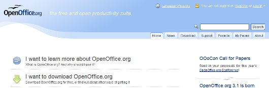 OpenOffice home page